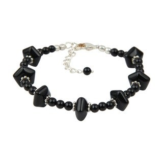 Pearlz Ocean Attractive Black Agate 8 Inches Gemstone Trendy Bracelet Jewelry for Women