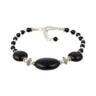 Pearlz Ocean Hypnotizing Black Agate 8 Inches Gemstone Trendy Bracelet Jewelry for Women