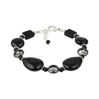 Pearlz Ocean Lavish Hematite and Black Onyx 8 Inches Gemstone Trendy Bracelet Jewelry for Women