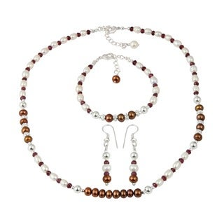 Pearlz Ocean Garnet Faceted Dyed Chocolate Cultured Freshwater Pearl Necklace Earrings & Bracelet Trendy Jewelry Set for Women