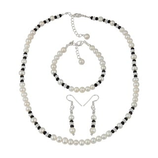 Pearlz Ocean Black Spinal Faceted White Cultured Freshwater Pearl Necklace Earrings and Bracelet Trendy Jewelry Set for Women