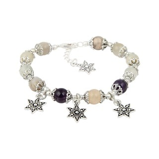 Pearlz Ocean Beautiful Amethyst Peach Moonstone 8 Inches Gemstone Trendy Star Charm Bracelet Jewelry for Women