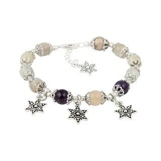 Pearlz Ocean Beautiful Amethyst Peach Moonstone 8 Inches Gemstone Trendy Star Charm Bracelet Jewelry for Women