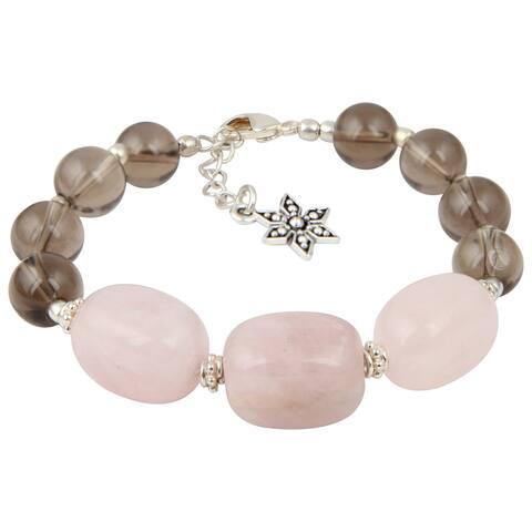 Pearlz Ocean Cute Smokey Quartz and Rose Quartz 8 Inches Gemstone Trendy Bracelet Jewelry for Women - Pink