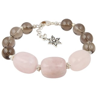 Pearlz Ocean Cute Smokey Quartz and Rose Quartz 8 Inches Gemstone Trendy Bracelet Jewelry for Women