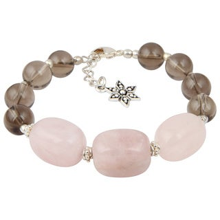 Pearlz Ocean Cute Smokey Quartz and Rose Quartz 8 Inches Gemstone Trendy Bracelet Jewelry for Women - Pink