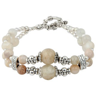 Pearlz Ocean Delicate Peach Moon Stone 8 Inches Gemstone Trendy Bracelet Jewelry for Women