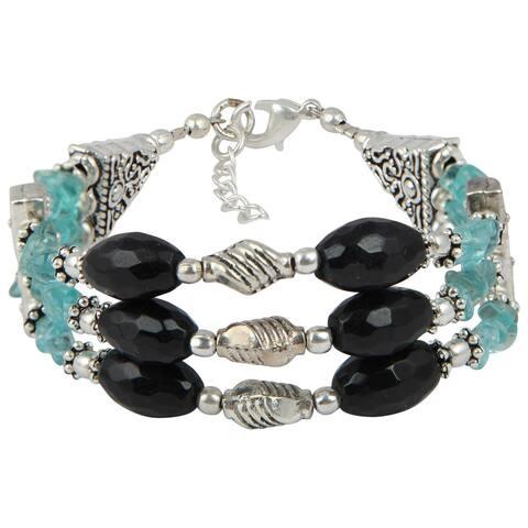 Pearlz Ocean Delightful Apatite Black Obsidian Faceted 8 Inches Gemstone Bracelet Jewlery for Women