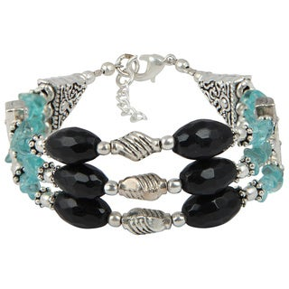 Pearlz Ocean Delightful Apatite Black Obsidian Faceted 8 Inches Gemstone Bracelet Jewlery for Women