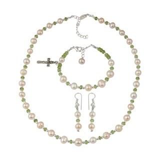 Pearlz Ocean Peridot Faceted Orange Cultured Freshwater Pearl Necklace Earrings & Cross Charm Bracelet Trendy Jewelry Set