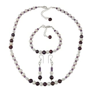 Graceful African Amethyst Faceted Beads White Cultured Freshwater Pearl Necklace Earrings & Bracelet Trendy Jewelry Set