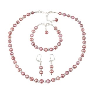 Pearlz Ocean Elegant Dyed Pink Cultured Freshwater Pearl Trendy Necklace Earrings and Bracelet Trendy Jewelry Set for Women