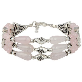 Pearlz Ocean Glee Rose Quartz 8 Inches Gemstone Trendy Bracelet Jewelry for Women