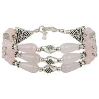 Pearlz Ocean Glee Rose Quartz 8 Inches Gemstone Trendy Bracelet Jewelry for Women - Pink