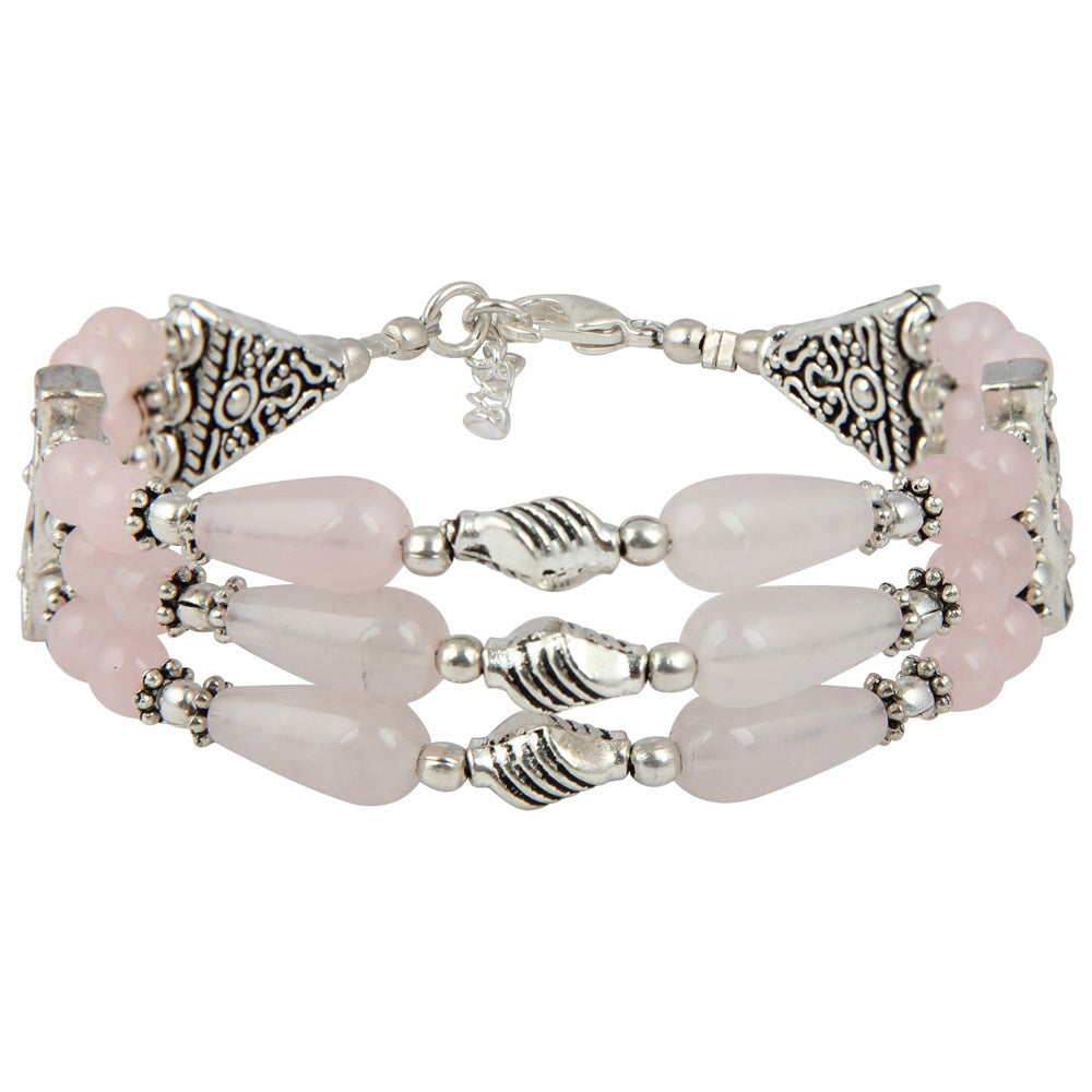 Awesome Handmade Jewelry Pink Rose quartz Sterling Silver Overlay Bangle//Bracelet Free Size