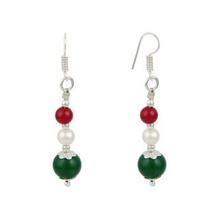 "Pearlz Ocean White 2"" Cultured Freshwater Pearl Green Jade Dangle Trendy Earrings Jewelry for Women"