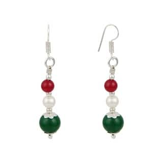 """Pearlz Ocean White 2"""" Cultured Freshwater Pearl Green Jade Dangle Trendy Earrings Jewelry for Women