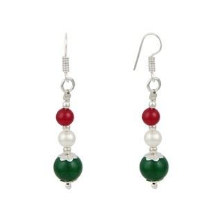 White Cultured Freshwater Pearl Green Jade Dangle Trendy Earrings Jewelry for Women