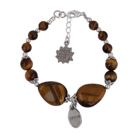 Pearlz Ocean Yellow Tiger's Eye 8 Inches Gemstone Trendy Charm Bracelet Jewelry for Women - Brown