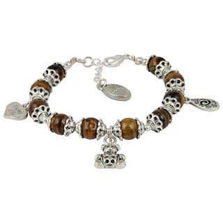 Pearlz Ocean Thrilling Yellow Tiger's Eye 8 Inches Gemstone Trendy Charm Bracelet Jewelry for Women - Brown