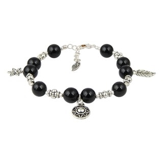 Pearlz Ocean Bold Black Agate 8 Inches Gemstone Trendy Charm Bracelet Jewelry for Women