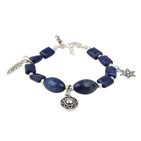 Pearlz Ocean Astonishing Dyed Lapis Lazuli 8 Inches Gemstone Trendy Charm Bracelet Jewelry for Women - Blue