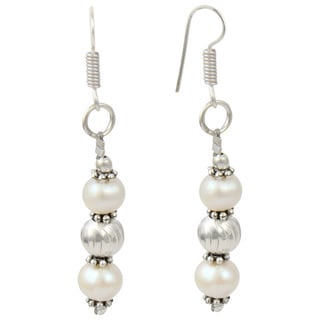 Pearlz Ocean White Cultured Freshwater Pearl Dangle Trendy Earrings Jewelry Jewelry for Women