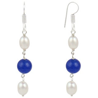 "Pearlz Ocean 2"" White Cultured Freshwater Pearl Blue Jade Dangle Trendy Earrings Jewelry for Women"