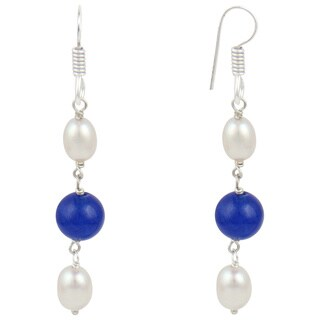 White Cultured Freshwater Pearl Blue Jade Dangle Trendy Earrings for Women