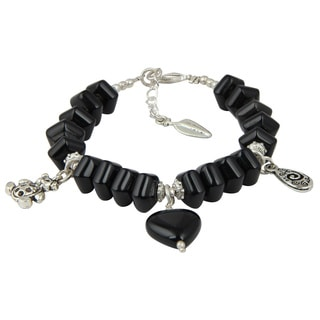 Pearlz Ocean Luxury Black Agate 8 Inches Gemstone Trendy Charm Bracelet Jewelry for Women