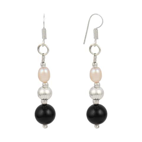 Orange Cultured Freshwater Pearl Black Onyx Dangle Earrings for Women
