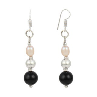 "Pearlz Ocean 2"" Orange Cultured Freshwater Pearl Black Onyx Dangle Trendy Earrings Jewelry for Women"
