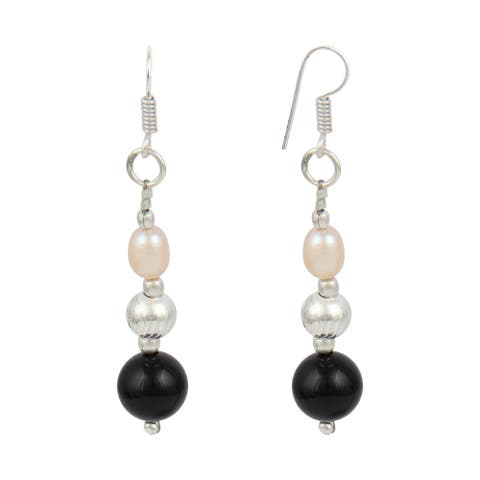 Orange Cultured Freshwater Pearl Black Onyx Dangle Earrings for Women