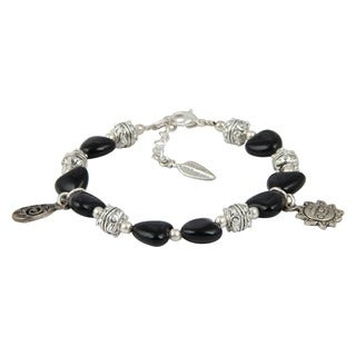Pearlz Ocean Blissful Black Agate 8 Inches Gemstone Trendy Charm Bracelet Jewelry for Women