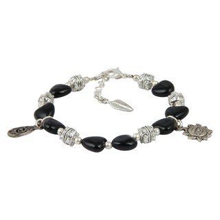 Pearlz Ocean Blissful Black Agate 8 Inches Gemstone Trendy Charm Bracelet Jewelry for Women