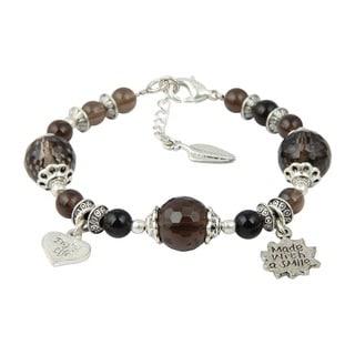Pearlz Ocean Smokey Quartz 8 Inches Gemstone Trendy Charm Bracelet Jewelry for Women