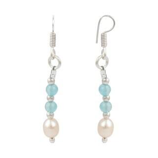 """Pearlz Ocean 2"""" Orange Cultured Freshwater Pearl Light Sky Jade Dangle Trendy Earrings Jewelry for Women"""