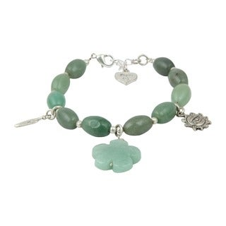 Pearlz Ocean Green Aventurine 8 Inches Gemstone Trendy Charm Bracelet Jewelry for Women