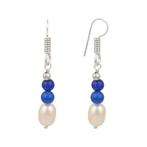 Orange Cultured Freshwater Pearl Blue Jade Dangle Trendy Earrings for Women - Black