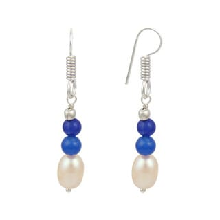 "Pearlz Ocean 1.5"" Orange Cultured Freshwater Pearl Blue Jade Dangle Trendy Earrings Jewelry for Women"