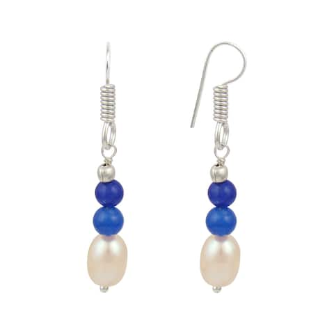Orange Cultured Freshwater Pearl Blue Jade Dangle Trendy Earrings for Women - Black