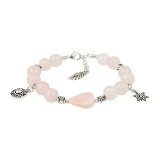 Pearlz Ocean Enticing Rose Quartz 7 Inches Gemstone Trendy Bracelet Jewelry for Women