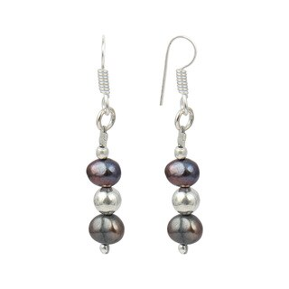 """Pearlz Ocean Dyed Black 1.5"""" Cultured Freshwater Pearl Dangle Trendy Earrings Jewelry for Women"""