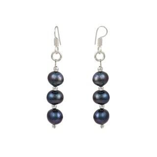 "Pearlz Ocean Dyed Bluish Black 2"" Cultured Freshwater Pearl Dangle Trendy Earrings Jewelry for Women"