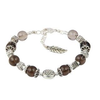 Pearlz Ocean Smokey Quartz 7 Inches Gemstone Trendy Bracelet Jewelry for Women