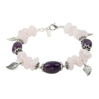 Pearlz Ocean Rose Quartz and Amethyst 7 Inches Gemstone Trendy Charm Bracelet Jewelry for Women - Purple