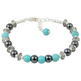Pearlz Ocean Joyful Hematite and Turquoise 7 Inches Gemstone Trendy Bracelet Jewelry for Women