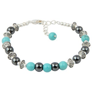 Pearlz Ocean Joyful Hematite and Turquoise 7 Inches Gemstone Trendy Bracelet Jewelry for Women - Black