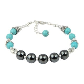 Pearlz Ocean Impeccable Turquoise and Hematite 7 Inches Gemstone Trendy Bracelet Jewelry for Women