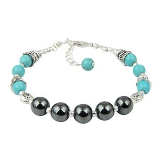 Pearlz Ocean Impeccable Turquoise and Hematite 7 Inches Gemstone Trendy Bracelet Jewelry for Women - Blue